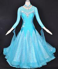Women Competition Ballroom Dance Dress Modern Light Blue Floral Waltz Gown NEW L