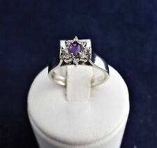 SOLID STERLING SILVER CLUSTER RING 1X5X2.5MM marquise amethyst 8x 1.0mm cz 3.1gr