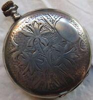 Vintage Pocket Watch open face silver case 49,5 mm. in diameter load manual