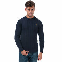 Mens Luke 1977 Modern Cable Knit Jumper In Navy- Ribbed Collar