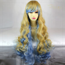 Wiwigs Supermodel Extra Long Blonde & Blue Mix Curly Cosplay Ladies Wig