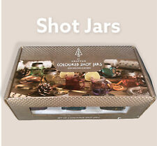 More details for (set of 6 coloured shots mini-jars) with sliver screw on lids (free shipping)