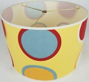 "NEW Drum Lamp Shade 15"" Dia 10"" H Contemporary Twister Circle Yellow Fabric"