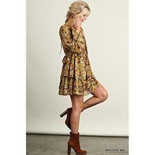 Umgee Floral Print Bell Sleeve Tiered Ruffle Shift Dress Boho Yellow Sz Medium