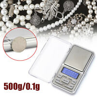 Mini Pocket Digital Scales Gold Jewellery Weighing Mini LCD Electronic 0.1g 500g