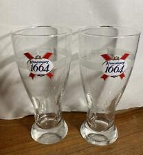 Set of 2 Kronenbourg 1664 Beer Pint Glasses - Raised Glass