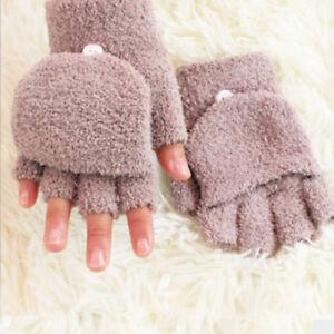 Women Coral Velvet Half Finger Gloves Fashion Flip Cover Gloves Mittens Gifts