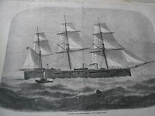 Gravure 1869 - L'Hercule navire cuirassé Anglais