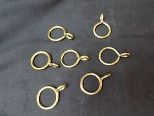 "27/32"" Solid Brass Drapery Rings with Eyelets 7 Pieces"