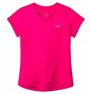 C9 by Champion Girls Bright Pinksicle Duo Dry V-Neck Athletic Shirt, Size XS 4-5