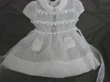 Vintage 50s Girls Childs Dress White ORGANDY cotton 3-4 Sheer GC Party Lace TRIM