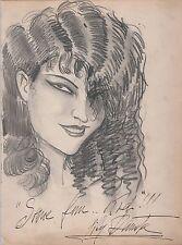 Lili Damita Authenticated Autograph Hand Drawn Caricature by Vincent Zito - JSA