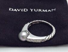 David Yurman 18ct 18k White Gold Diamond & Grey Pearl Cable Ring Size L or 6