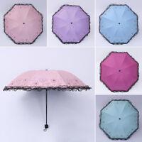 Woman's Lace Heart Anti UV Sun Rain Umbrella Parasol Windproof 8 Ribs 3 Folding