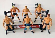 WWE Wrestling Bundle - Crash Cage Ring, 6 figures & small Championship belt (2)