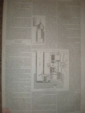 Ericsson's calorique moteur estampes et l'article 1853 OLD PRINT ref T