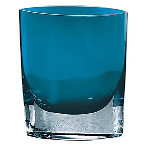"Badash Crystal Peacock Blue Samantha European Mouth Blown 8"" Pocket Vase"