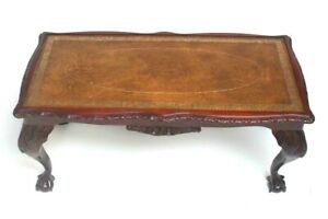 Vintage Carved Mahogany Leather Top Coffee Table with Ball and Claw Feet [6566A]