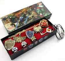 New The Legend of Zelda Cosplay Necklace Keychain Ring Pendant 9pcs Set in Box