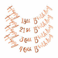 Rose Gold Happy Birthday Bunting Banner 18th 21st 30th 40th Party Decoration 2M