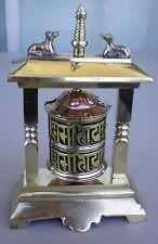 Standing Tibetan Prayer Wheel Brass Snow Lions w/ Mantra Scroll