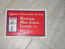 Vtg, 1984-85 NATIONAL MAH JONGG Mahjong LEAGUE RULES GAME CARD, NMJL