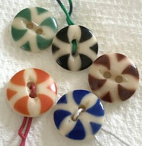 5 Vintage China Stencil Buttons, Pattern #28