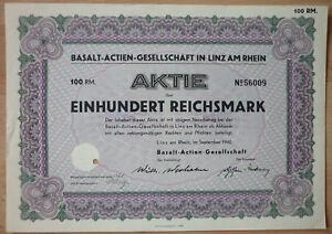 Aktie, Basalt- AG in Linz am Rhein 1940, (Art.3156)