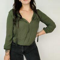 Joie Olive Green Peasant Tassel Top Pleated Poet Long 3/4 Sleeve Silk Small S