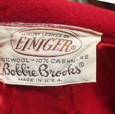 25W Vtg 60s Wool/Cashmere Blood Red Sexy Secretary Side Zip Skirt Einiger