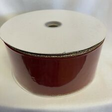 Wired Edge Ribbon Scarlet Red and Gold Velvet 4 Inch Wide by 50 Yards New Craft