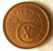 1942 ICELAND 2 AURAR - High Quality Coin - FREE SHIPPING - Iceland Bin A