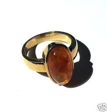 Goldring  Bernstein oval 333er Gold Ring Damen Gr. 60 Bernsteinring Gelbgold