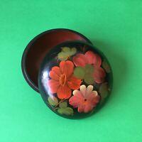 Vintage Black Wooden Hand Painted Flowers Round Trinket Box