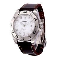 43mm Parnis Weiß dial Date Saphirglas miyota Automatisch movement Uhr Mens watch