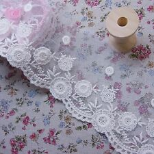 "Antique Style Floral Embroidery Tulle Lace Trim 8cm (3.2"") Ivory Cream 3yds"