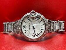 Cartier Ballon Bleu Men's 42mm Iced Out 8ct Genuine Diamonds SS Ref: 3001