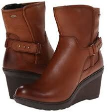 Clarks BNIB Ladies Wedge Ankle Boot NATIRA KIT GTX Brown Leather UK 7 / 41