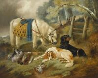 "perfect 36x24 oil painting handpainted on canvas""horse,dogs,prey ""N10192"