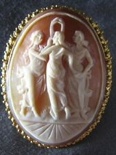Vintage 3 Graces Goddess Natural Shell Cameo Pin 18K Gold Pendant Antique Brooch