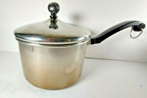 VINTAGE FARBERWARE ALUMINUM CLAD STAINLESS STEEL 3 QT. SAUCE PAN WITH LID