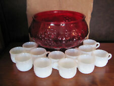 """Vintage Red Glass Punch Bowl & 12 punch Cups, hooks- Fruit Design 8"""" T x 9 1/2 W"""
