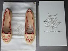 CHARLOTTE OLYMPIA Kitty Embroidered Raffia Flats Italy Size 38 NEW $645