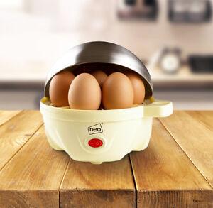 Stainless Steel Cream Electric Egg Cooker Boiler Poacher & Steamer Fits 7 Eggs