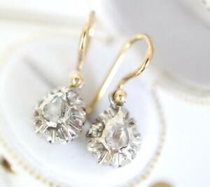Jugendstil Ohrringe 750/000 Gelbgold und Silber mit grossen Diamanten  A3300