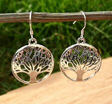 925 Silver Plated Tree of Life Earrings Symbolic + Gift Pouch