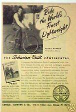 Schwinn Continental Bicycles Bike Movie Star ~1947~ Ad