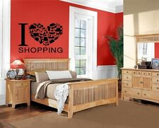 Wall Stickers Vinyl Decal I Love Heart Shopping Fashion Girl's Passion  EM519