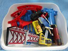 Thomas the Tank Engine blue plastic track, parts, trains, crane, toy railroad