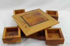 Beautiful Cedar Wood Spin to Open Puzzle Box 4 Drawer